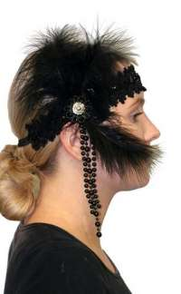 Flapper Headpiece - Deluxe Noir
