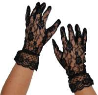 Short Lace Gloves - Black