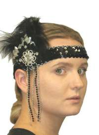 Flapper Headpiece - Deluxe Black/ Silver