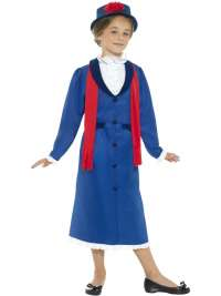 Victorian Nanny Costume, Blue with Dress