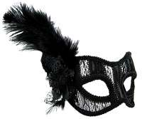 Masquerade Mask Black lace w' feather