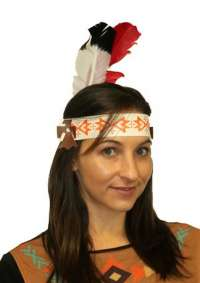 Indian Headband - Red/White Feather