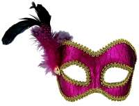 Masquerade Mask pink & gold w'feather
