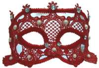 Red Lace Eyemask w/Pearls