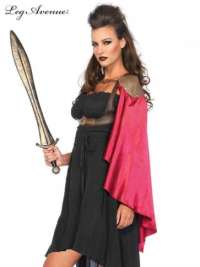 Warrior Harness Vest with One Shoulder Satin Cape