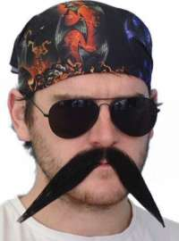 'Biker' Big Black Moustache