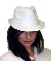 White Sequin Fedora w/Lights