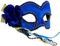 Masquerade Mask Blue & Gold w/Flower