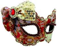 Masquerade Mask Red & Gold w/Bow