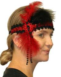 Flapper Headpiece - Deluxe Red/ Black