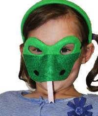 Green snake mask and headband child costume set