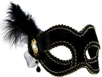 Masquerade Mask Black w'side feather