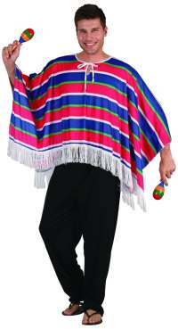 Mexican Poncho - Red/Blue
