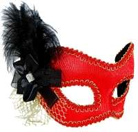 Masquerade mask Red w' black feather