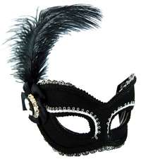 Masquerade Mask Black and silver w'feather