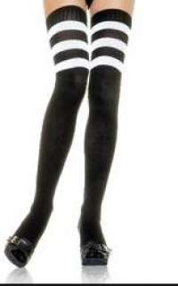 3 Strips athletic ribbed thigh high socks