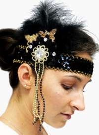 Flapper Headpiece - Deluxe Black/Gold