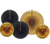 Assorted Paper Black & Gold Foil Decorative Fans